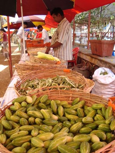 Organic green vegetables sold at the Farmers' Market in Bandra, Mumbai