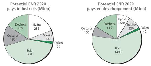 Potentiel ENR 2020 pays industrialisés et pays en développement