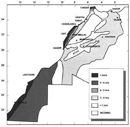 Carte du gisement éolien du Maroc